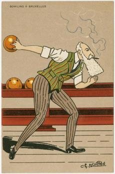 Bowling in Brussels, from a series with caricatures of bowling kings by Charles Naillod.